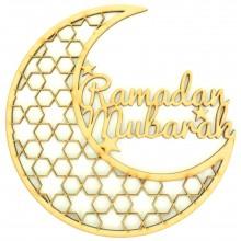 Laser Cut 'Ramadan Mubarak' Decorative Moon