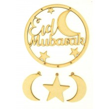 Laser Cut 'Eid Mubarak' Dream Catcher with Hanging Shapes