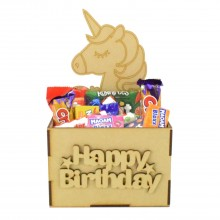 Laser Cut Birthday Hamper Treat Boxes - Unicorn