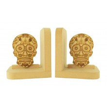 18mm Freestanding MDF Sugar Skulls Pair of Bookends with Laser Cut Shape
