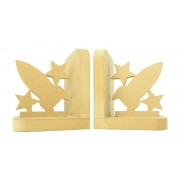 18mm Freestanding MDF 'Rocket with Stars' Shape Pair of Bookends