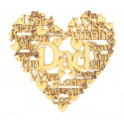 Laser Cut Personalised Male Family Name Word Collage Box Frame Heart