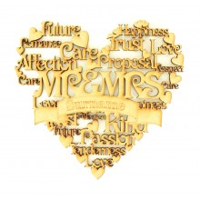 Laser Cut Personalised 'Mr & Mrs' Word Collage Box Frame Heart with Etched Banner