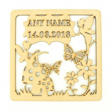 Laser Cut Personalised Box Frame Birth Plaque - Fairy Theme