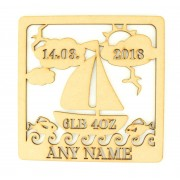 Laser Cut Personalised Box Frame Birth Plaque - Sailing Theme