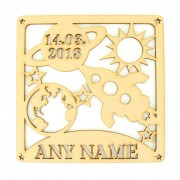 Laser Cut Personalised Box Frame Birth Plaque - Space Theme