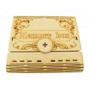 Laser Cut Decorative Wedding USB Storage Folding Book Gift Box