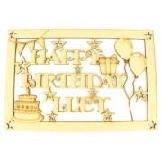 Laser Cut Personalised 'Happy Birthday' Box - Large Box Frame Top - Star Design