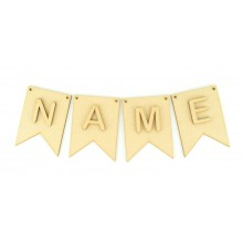 Laser Cut Personalised Traditional Banner Shape Bunting with Laser cut Letters (A-R)