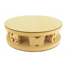 18mm MDF Round Cake Stand - Butterfly Shape and Love Word Design - Variety of Sizes Available