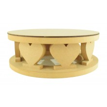 18mm MDF Round Cake Stand - Heart Shape Design - Variety of Sizes Available