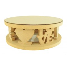 18mm MDF Round Cake Stand - Hearts and Mouse Head Love Word Design - Variety of Sizes Available