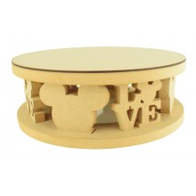 18mm MDF Round Cake Stand - Mouse Head Shape and Mouse Head Love Word Design - Variety of Sizes Available
