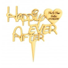 Laser Cut Personalised 'Happily Ever After' Wedding Cake Topper - Disney Font