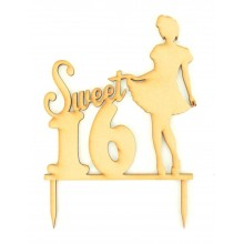 Laser Cut 'Sweet 16' Birthday Cake Topper with Girl Shape at the side