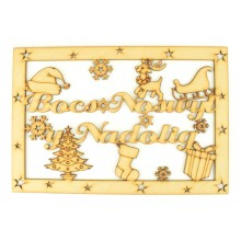 Laser Cut 'Bocs Noswyl y Nadolig' Large Christmas Box Frame Top - Welsh Design