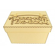 Laser cut 'Christmas Eve Box' Candy Cane & Gingerbread Design with Blank Banner To Add Vinyl - Box Options
