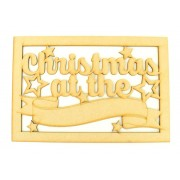 Laser Cut 'Christmas at the...' Large Christmas Box Frame Top with Stars and Blank Banner To Add Vinyl