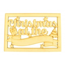 Laser Cut 'Christmas at the...' Large Christmas Box Frame Top with Christmas Shapes and Blank Banner To Add Vinyl