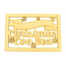 Laser Cut 'Christmas Eve Box' Large Christmas Box Frame Top with Snowflakes and Blank Banner To Add Vinyl