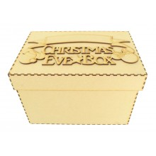 Laser cut 'Christmas Eve Box' Mouse Heads Design with Blank Banner To Add Vinyl - Box Options