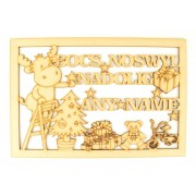 Laser Cut Personalised 'Bocs Noswyl Nadolig' Welsh Christmas Eve Box Large Frame Top with Reindeer