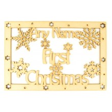 Laser Cut Personalised 'First Christmas' Large Frame Top with Snowflakes