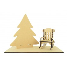 Freestanding 18mm Christmas Tree with Laser cut Rocking chair and Base Set