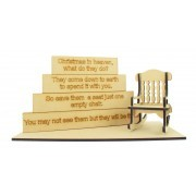 18mm Stacking Blocks with Laser Cut Rocking Chair, Base and 'Christmas in Heaven' Wording Plaques