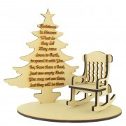 Laser Cut 'Christmas in Heaven' Quote on a Christmas Tree with Rocking chair and Base Set