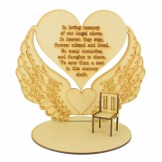 Laser Cut 'In Loving Memory of our Angel above.' Angel Wings Plaque on a Stand with Miniature Chair