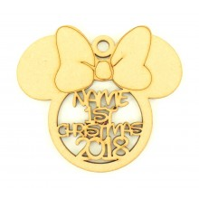 Laser Cut Personalised '1st Christmas' with Year Mouse Head with Bow Bauble - 120mm Size