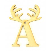 Laser Cut Personalised Christmas Letter Decoration with Antlers