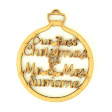 Laser Cut Personalised 'Our First Christmas as Mr & Mrs' Bauble - 100mm Size - Script Font