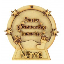 Laser Cut Personalised 3D Snowglobe Christmas Bauble - 100mm Size - Santa Please Stop Here For...