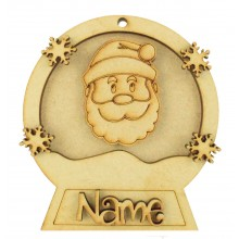 Laser Cut Personalised 3D Snowglobe Christmas Bauble - 100mm Size - Santa Head
