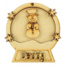 Laser Cut Personalised 3D Snowglobe Christmas Bauble - 100mm Size - Snowman
