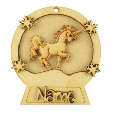 Laser Cut Personalised 3D Snowglobe Christmas Bauble - 100mm Size - Unicorn