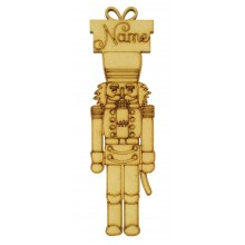 Laser Cut Personalised Nut Cracker Soldier Decoration with Present - 150mm Size