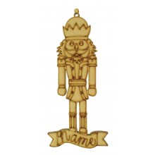 Laser Cut Personalised Nut Cracker King Decoration with Banner - 150mm Size