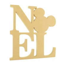 18mm Freestanding MDF 'NOEL' Stacked Joined Word with a Mouse Head Shape - Size Options