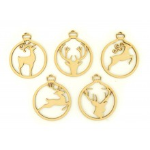 Laser Cut Stag Christmas Baubles - Set of 5