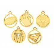 Laser Cut Superhero Christmas Baubles - Set of 5