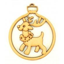 Laser Cut Rudolph Reindeer Christmas Bauble