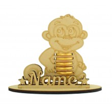 6mm Monkey Shape Chocolate Coin Holder on a Stand - Stand Options