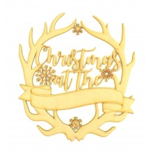 Laser Cut 'Christmas At The...' Antlers with Blank Banner To Add Vinyl