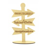 Laser Cut 6mm Personalised Direction Arrows on a Stand with 3mm Wording of your choice!