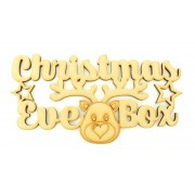 Laser cut 'Christmas Eve Box' Sign with Stars and Cute Reindeer Head