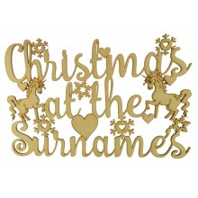 Laser Cut Personalised 'Christmas At The...' Sign with Unicorns - Size Options