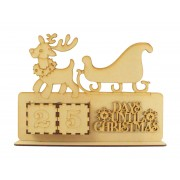 Laser Cut Perpetual Reindeer and Sleigh Christmas Countdown on a Stand